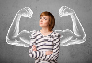 woman with strong arms drawn behind her